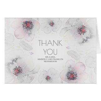 Grey Boho Watercolor Floral Wedding Thank You Card