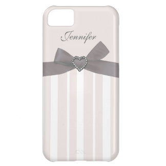 Grey Bow with Print Jewels & Stripes iPhone Case