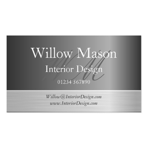 Grey & Brushed Steel Monogram Business Card Business Card Template