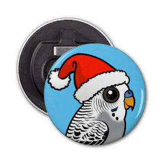 Grey Budgie Santa Claus Bottle Opener