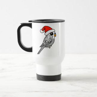 Grey Budgie Santa Claus Travel Mug