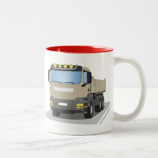 grey building sites truck Two-Tone coffee mug