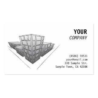 Grey buildings in perspective business card templates