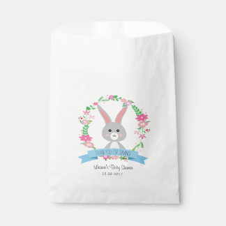 Grey Bunny and Floral Wreath Favour Bag