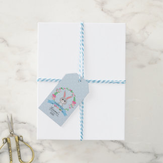 Grey Bunny and Floral Wreath Gift Tags