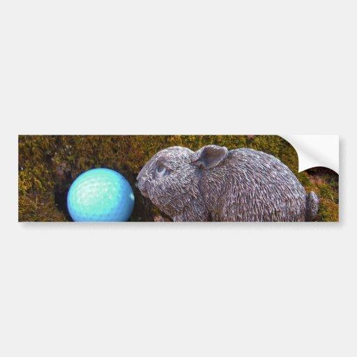 Grey Bunny, Blue Golf Ball Bumper Sticker