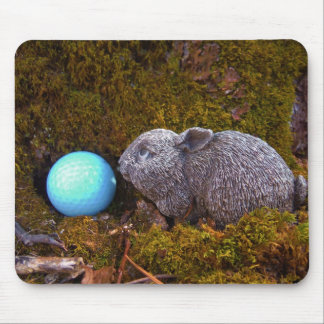 Grey Bunny Blue Golf Ball Mouse Pads