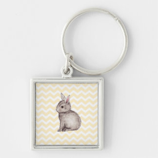 Grey bunny watercolor painting on yellow chevron key chains