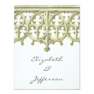 Grey & Buttercream Cathedral Wedding RSVP 4.25x5.5 Paper Invitation Card