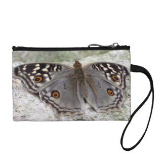 Grey Butterfly Colour Image - Key Coin Clutch Change Purses