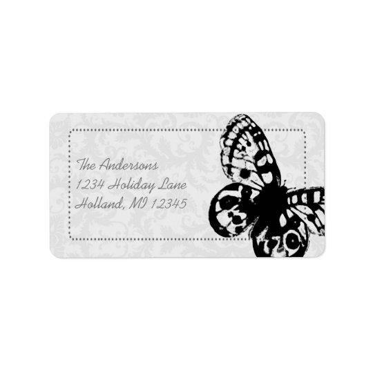 Grey Butterfly Damask Return Address Address Label