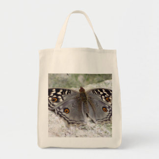 Grey Butterfly Image - Organic Grocery Tote Bag