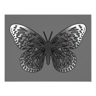 Grey Butterfly 11 Cm X 14 Cm Invitation Card