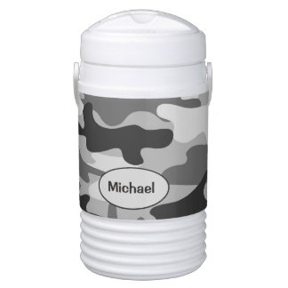 Grey Camo Camouflage Name Half Gallon Cooler