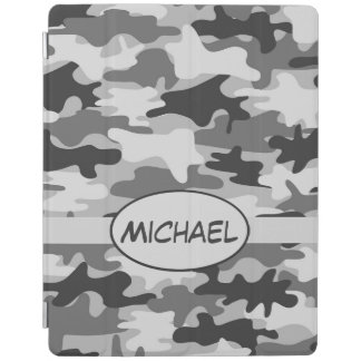 Grey Camo Camouflage Name Personalised iPad Cover