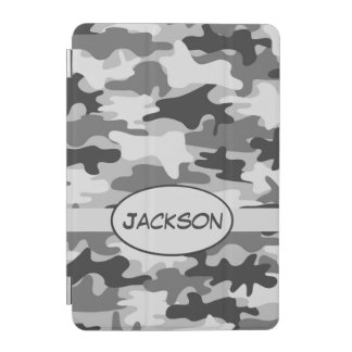 Grey Camo Camouflage Name Personalised iPad Mini Cover