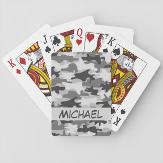 Grey Camo Camouflage Name Personalized Poker Playing Cards
