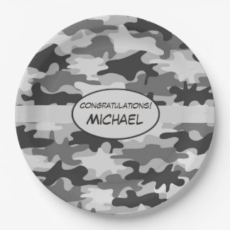 Grey Camouflage Congratulations Name Personalised Paper Plate