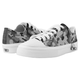 Grey Camouflage Low Top Shoes Printed Shoes