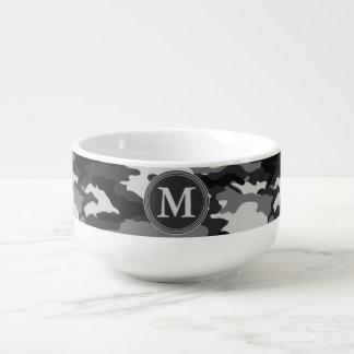 Grey Camouflage Pattern Initial Monogram Soup Mug