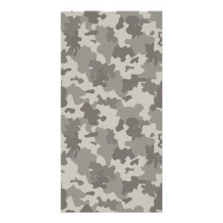 Grey Camouflage Photo Card