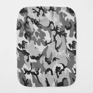 Grey Camouflage Uno Burp Cloths