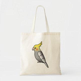 Grey Cartoon Cockatiel Parrot Bird Tote Bag