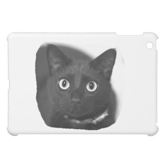 Grey Cat Big Eyes BW Picture iPad Mini Covers