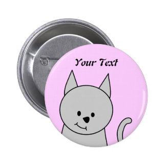 Grey Cat Cartoon. Pinback Button