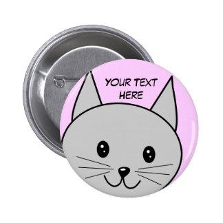 Grey Cat Cartoon. Pinback Buttons