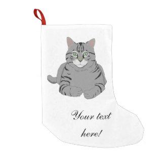 Grey cat cartoon small christmas stocking