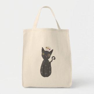 Grey cat, cat, kitty, kitten, whimsical cat tote bag
