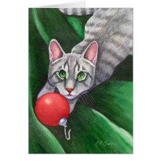 Grey Cat Christmas Ornament Card