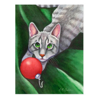 Grey Cat Christmas Ornament Postcard