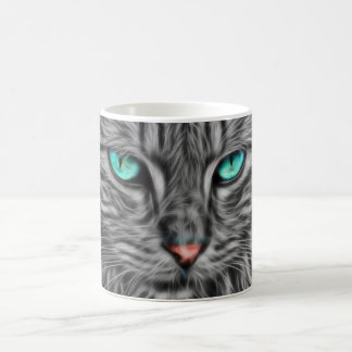 Grey Cat Feline Fractal Art Design Coffee Mug