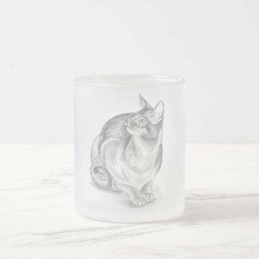 grey cat frosted glass mug