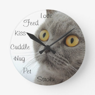 Grey Cat Golden Eyes Close-up Round Clock