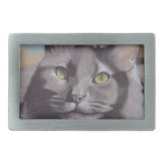 Grey Cat Pet Portrait Belt Buckle
