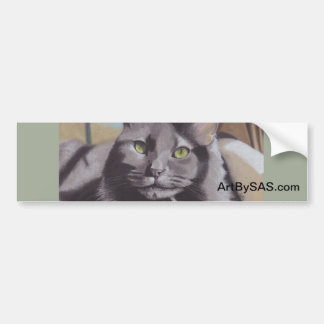 Grey Cat Pet Portrait Bumper Sticker