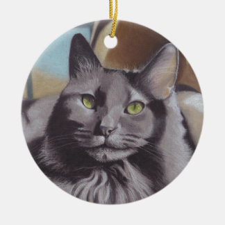 Grey Cat Pet Portrait Ceramic Ornament
