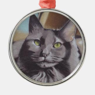 Grey Cat Pet Portrait Metal Ornament