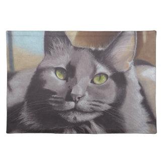 Grey Cat Pet Portrait Placemat