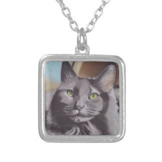 Grey Cat Pet Portrait Silver Plated Necklace
