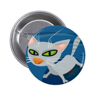 Grey cat pinback button