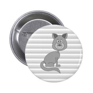 Grey Cat. Pinback Buttons