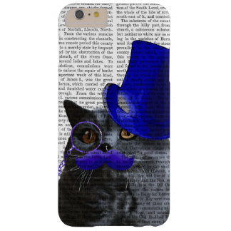 Grey Cat With Blue Top Hat and Blue Moustache Barely There iPhone 6 Plus Case