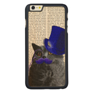 Grey Cat With Blue Top Hat and Blue Moustache Carved® Maple iPhone 6 Plus Case