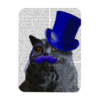 Grey Cat With Blue Top Hat and Blue Moustache Rectangular Photo Magnet