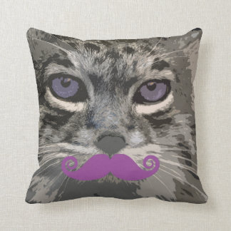 Grey Cat with Funny Mustache Popart Throw Pillow