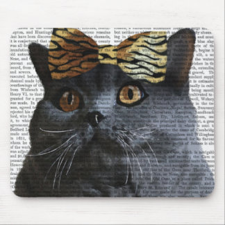 Grey Cat with Leopard Bow Mouse Pad